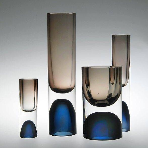 Glass vases designed Tapio Wirkkala and produced by Iittala of Finland in 1954…