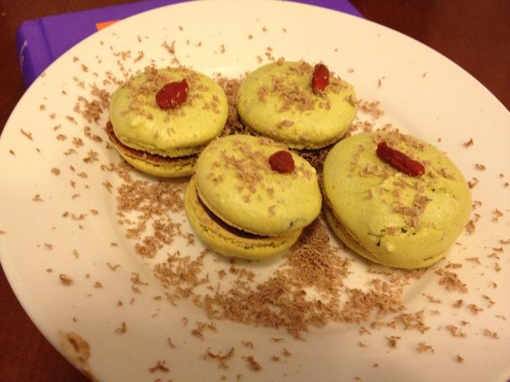 Pistachio & Chocolate Macaroons