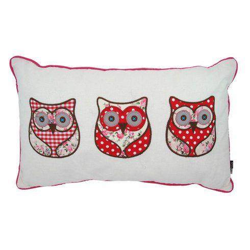 Wise Owls Appliqué Cushion