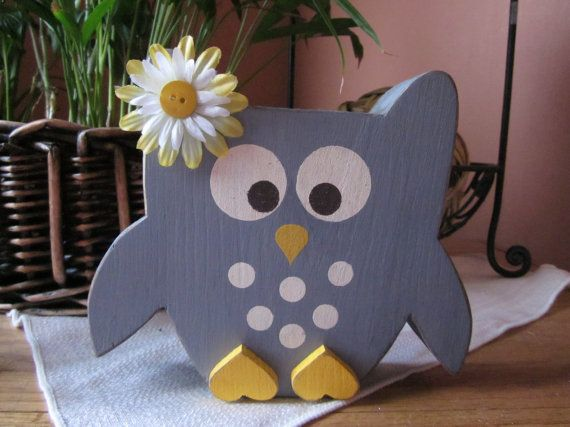 Owl....PeRfEcT addition to any nursery...This owl is SO cute.Custom, Wooden Letter Sign Shelf Blocks Primitive Rustic Country SHOWER GIFT