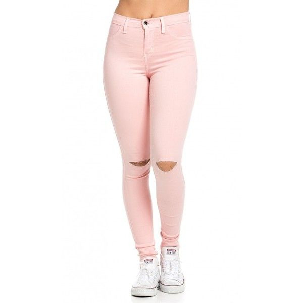 High Waisted Knee Slit Skinny Jeans in Light Pink (715 MXN) ❤ liked on Polyvore featuring jeans, pants, calças, high-waisted jeans, stretch skinny jeans, high rise jeans, slim fit skinny jeans and stretchy skinny jeans