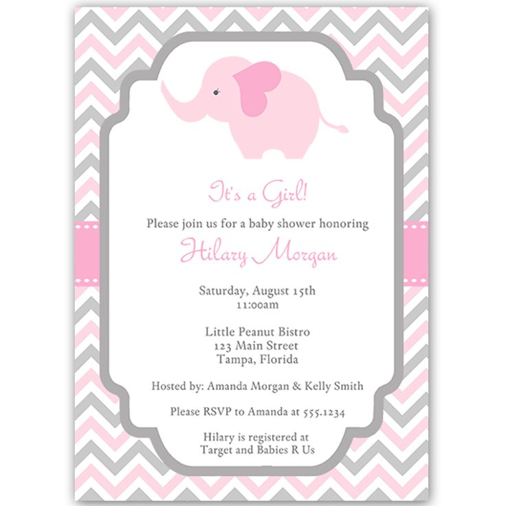 Chevron Elephant Pink Baby Shower Invitation | Themed baby ...