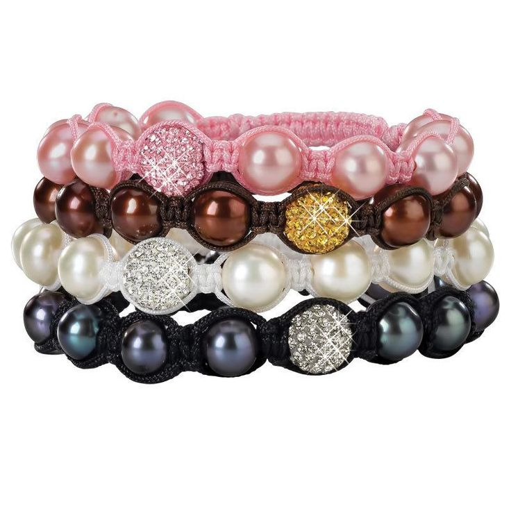 Each bracelet has been created to maximize the alluring beauty of genuine cultured pearls and sparkling pave crystals, cleverly hand tied in macrame cord, and available in four... More Details