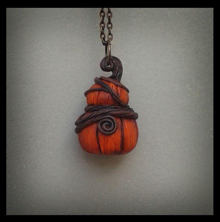 Carved Pumpkin Black Cat Necklace