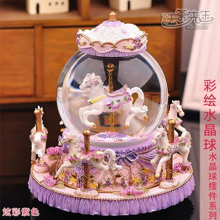Kristallipallo soittorasian, karuselli soittorasia lähettää tyttöjä tyttöystäviä tyttöystävä vaimo uuden vuoden lahjoja koristeet hartsi