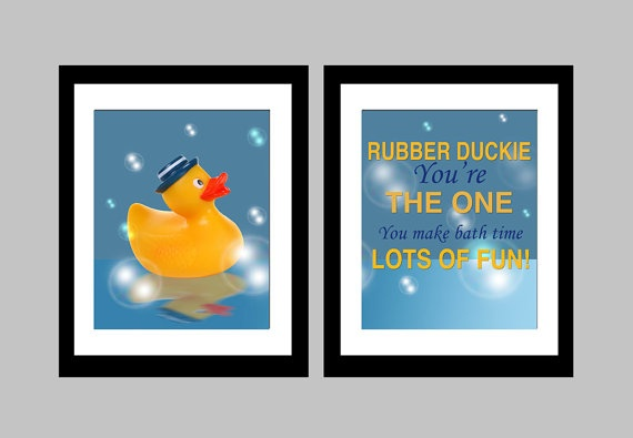 """Here we have three lovely 8 x 10 glossy original prints featuring a rubber duckie and the quote """"rubber duckie you're the one. You make bath time lots of fun!"""" Ideal for framing and great for a bathroom in a household with children!"""