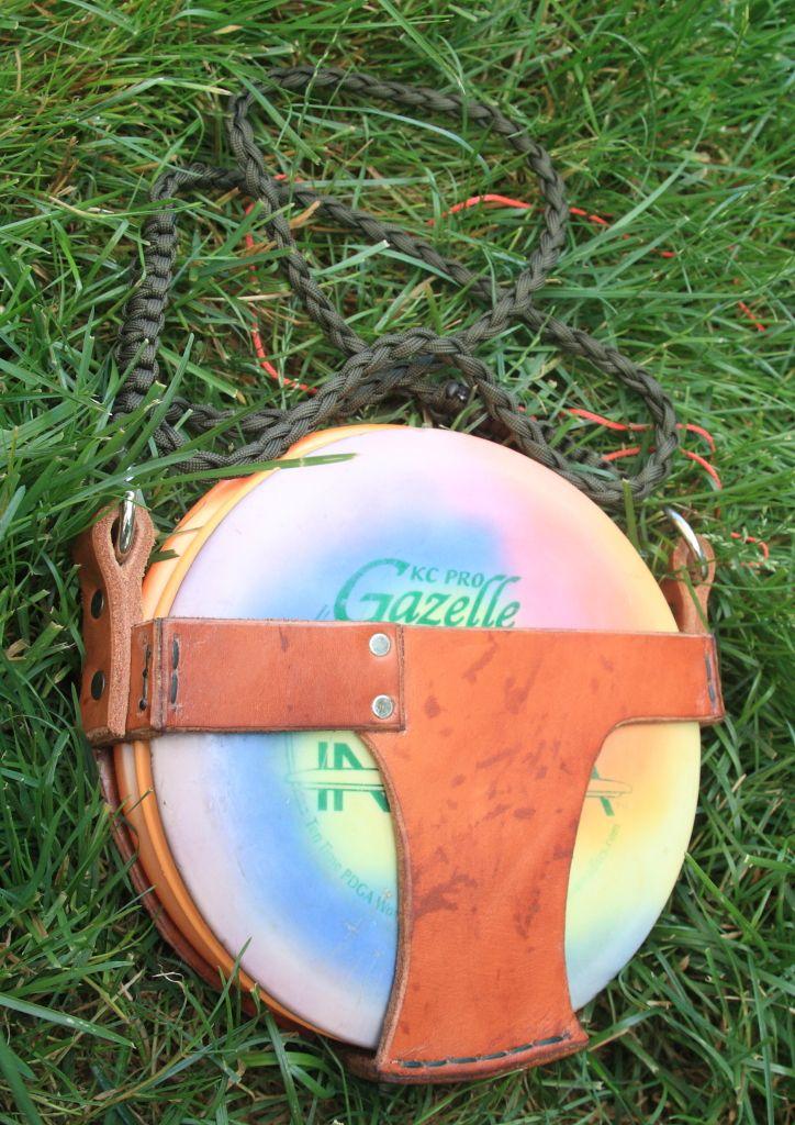 Custom Leather Disc golf bag I have up on ebay right now. www.birdshotdiscgolf.com