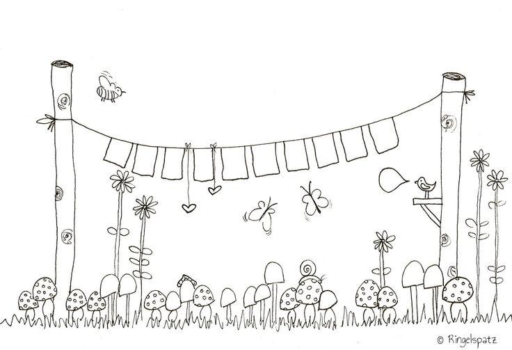 Eine tolle Girlande für dich im Garten Ausmalbild  ...