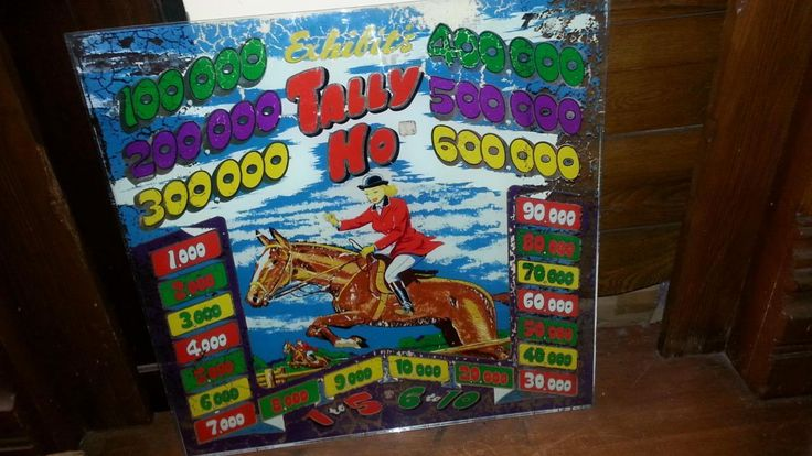 1940's Pinball Backglass - Exhibit's Brand - Tally Ho Horse - Jumping Scene