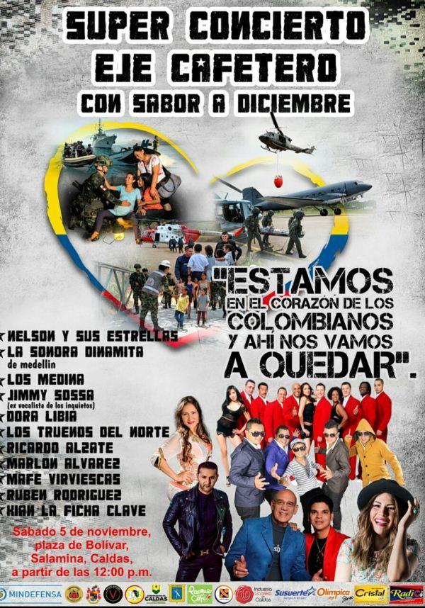 """En Salamina se realizará el """"Súper concierto cafetero con sabor a diciembre"""" en honor a nuestras Fuerzas Militares"""