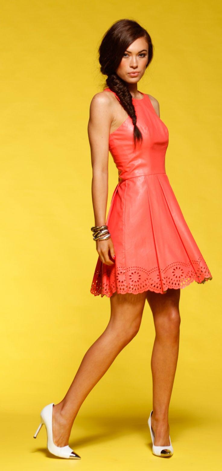 Honey & Beau - Laser Cut Dress in Peach HD55018