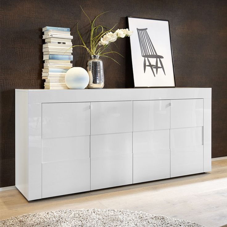 Bahut blanc laque design homeezy - Buffet ikea blanc laque ...