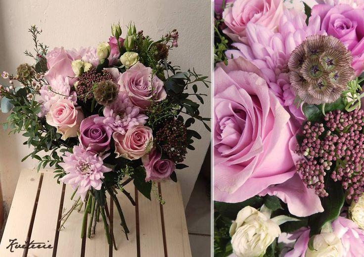 lila roses, viburnum, dry scabiosa, chamelaucium bouquet