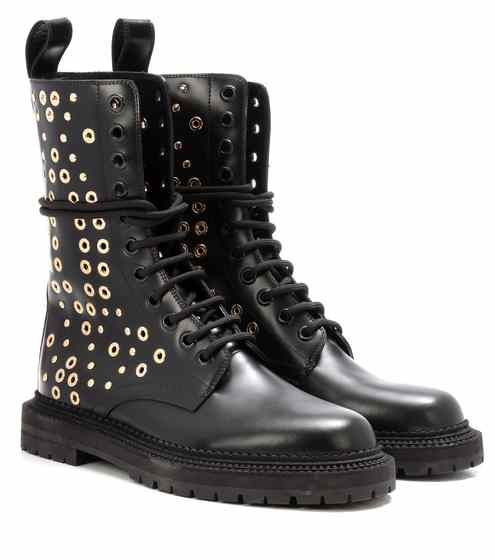 Aster Eyelet embellished leather boots | Burberry