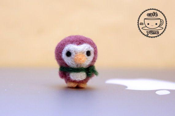 Needle Felted Mini Chilly Penguin Plushie Keychain by CafeDeYume