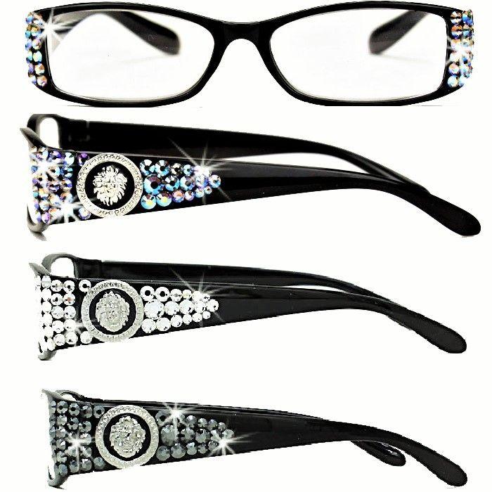 38d9719f0cbc LION Medusa Swarovski Crystal Ladies BLING Black Reading Glasses ...