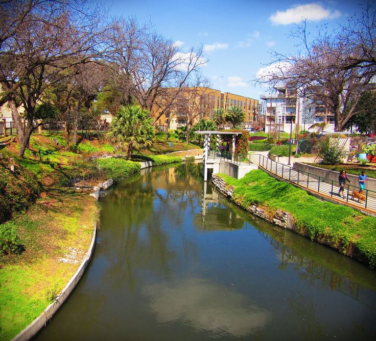 View of the San Antonio River with the Riverwalk north of Downtown San Antonio, Texas