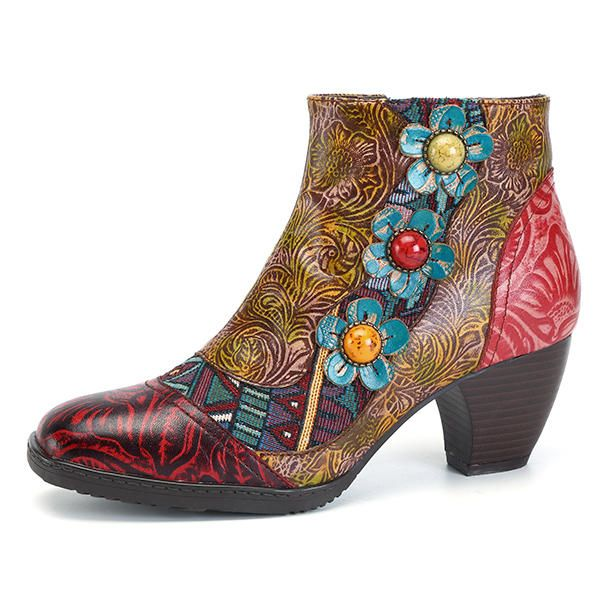 SOCOFY Bohemian Comfy Zipper Flower Ankle Leather Boots - US$74.27