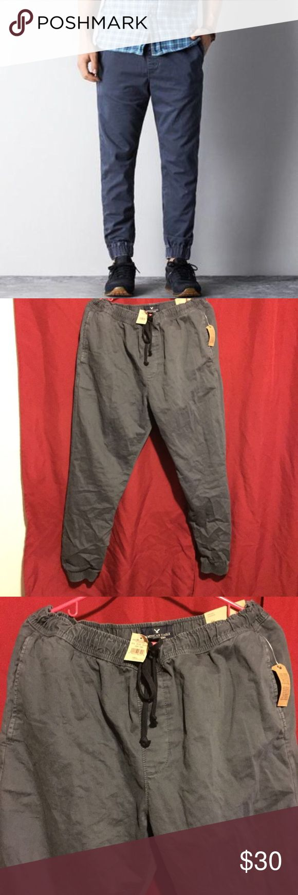 American Eagle Mens Drawstring Khaki Joggers American Eagle Outfitters Mens drawstring joggers. Size large. Dust navy. New with tags.   ALSO SELLING ANOTHER PAIR IN GREEN. American Eagle Outfitters Pants Track Pants & Joggers