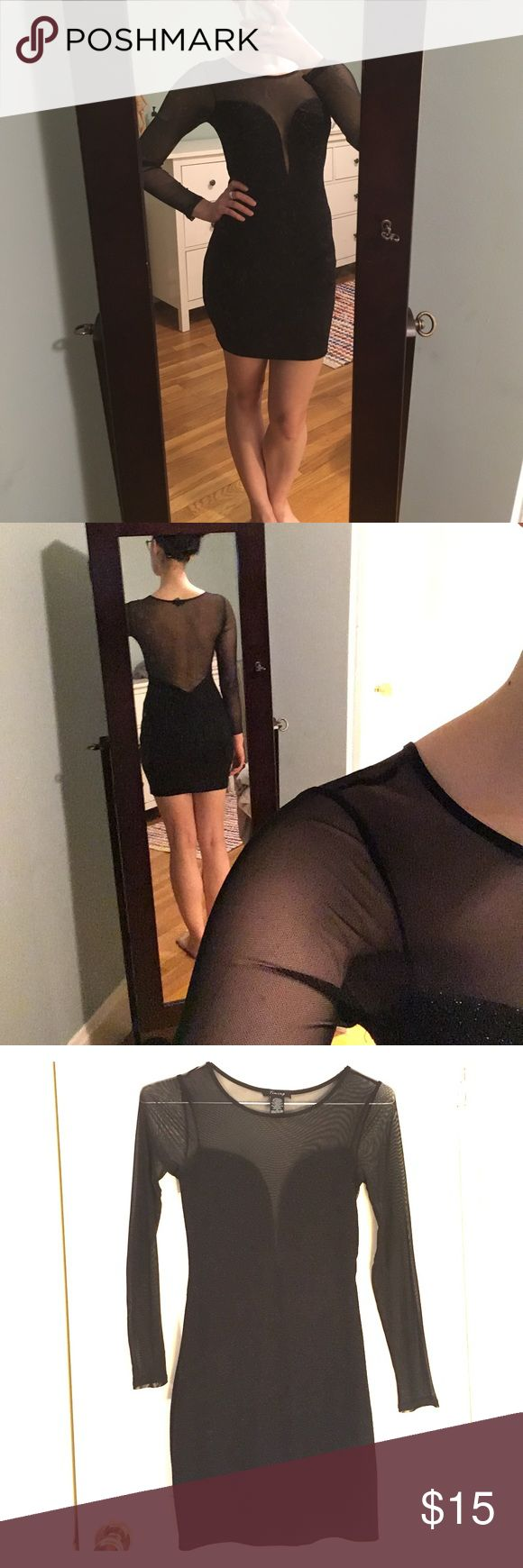 Sexy Shimmer & Mesh Bodycon Dress - Timing Perfect for the club! Only worn once. Very sexy, shimmery, long-sleeve black bodycon dress with low cut front and open back. Made less scandalous with black mesh illusion top, back, and sleeves. Has a soft lining inside the shimmer fabric. Sized at a medium. I usually wear a small and it fits well without being too snug. Stretchy fabric has plenty of give. ASOS Dresses Long Sleeve