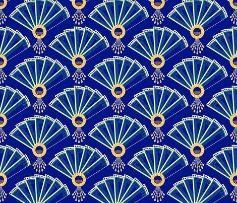 deco fans fabric by coggon_(roz_robinson) on Spoonflower - custom fabric Gotta love art deco fans!