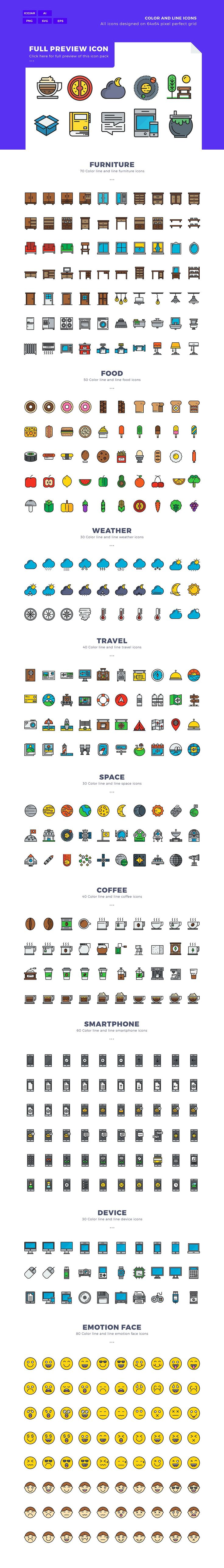 1970x2 Color Line Icons Pack by Unlimit.icon on @creativemarket