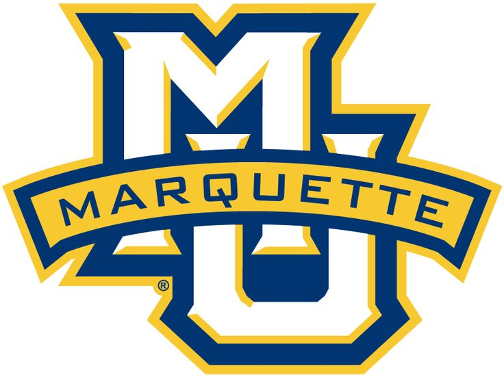 Marquette Golden Eagles Primary Logo (2005) - Interlocking MU with blue and gold outline and gold banner saying Marquette