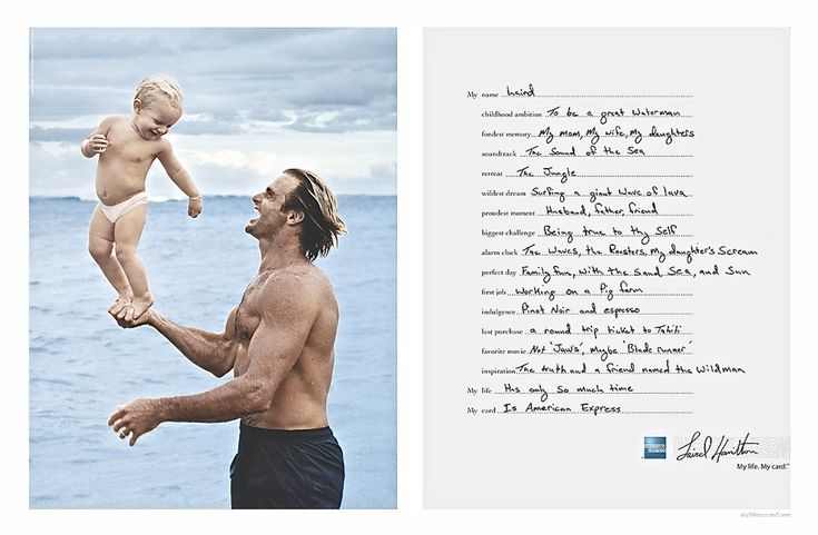 Pro surfer Laird Hamilton and son (2005) by Annie Lebovitz for American Express.