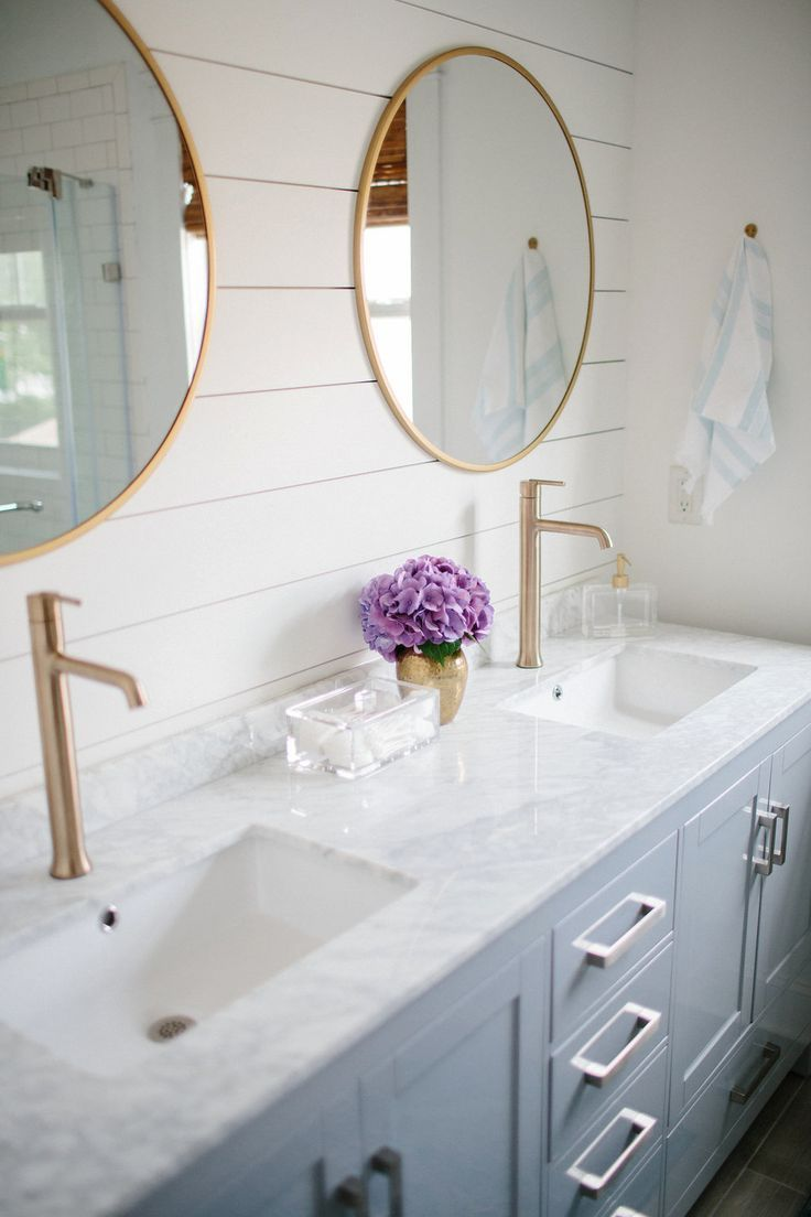 Our Master Bathroom Renovation Reveal - Simple Stylings and @loweshomeimprovement - www.simplestylings.com - classic and modern bathroom - White bathroom - subway tile - shiplap - brass fixtures #partner
