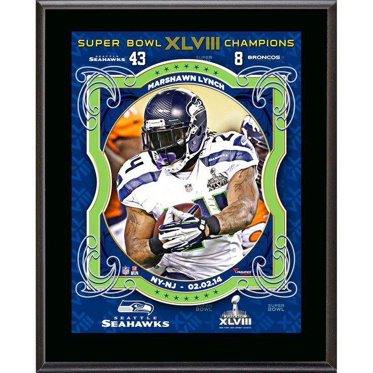 "Marshawn Lynch Seattle Seahawks Fanatics Authentic 10.5"" x 13"" Super Bowl XLVIII Champions Sublimated Plaque - $23.99"