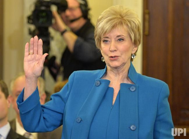 Linda McMahon, nominated to be the next administrator of the Small Business Administration, raises her right hand to be sworn in, before…