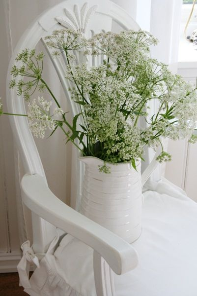 01-12-2016 White pitcher on white chair with queen Anne's lace.
