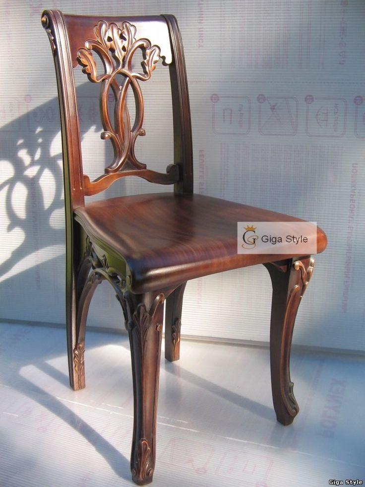 Элитный резной стул из натурального дерева, массив дуба. Изготовление стульяев на заказ. Стул из дерева в стиле модерн. Купить мебель для дома, эксклюзивная мебель на заказ