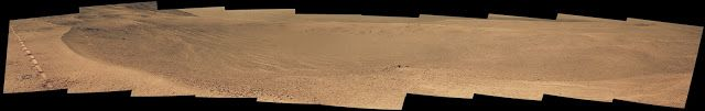 """NASA's Opportunity Mars rover passed near this small, relatively fresh crater in April 2017, during the 45th anniversary of the Apollo 16 mission to the moon. The rover team chose to call it """"Orion Crater,"""" after the Apollo 16 lunar module. The rover's Panoramic Camera (Pancam) recorded this view. Image Credits: NASA/JPL-Caltech/Cornell Univ./Arizona State Univ."""