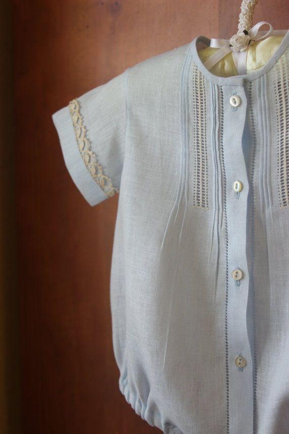 Set de 3 Piezas: Bombacho, gorra y botin azul en Estopilla para niño   0-3 meses   Azul pálido   Regalo de Baby Shower   Verano