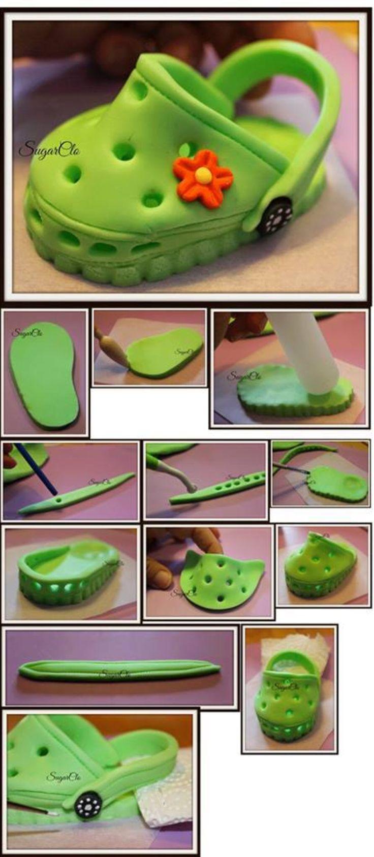 Fondant baby croc shoe tutorial Marilee *lived* in her green baby crocs.  #pinyourlove #picmonkey