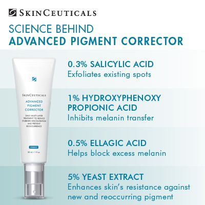 Advanced Pigment Corrector contains 4 clinically proven ingredients formulated to provide a comprehensive approach to help reduce the appearance of discoloration. #skinceuticals #skincare #science #beauty #health