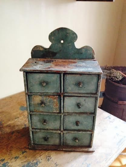 Early Antique Hanging Spice Drawers Original Light Blue Paint