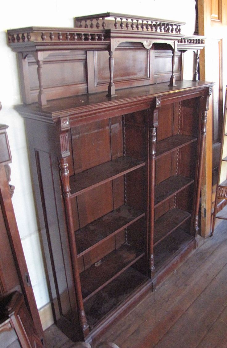 Tall Victorian Eastlake Walnut Open Front Bookcase | eBay