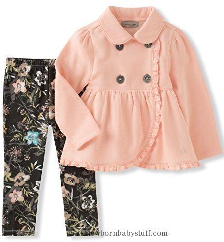 Baby Girl Clothes Calvin Klein Baby Girls' Jacket Set, Peach, 3-6M
