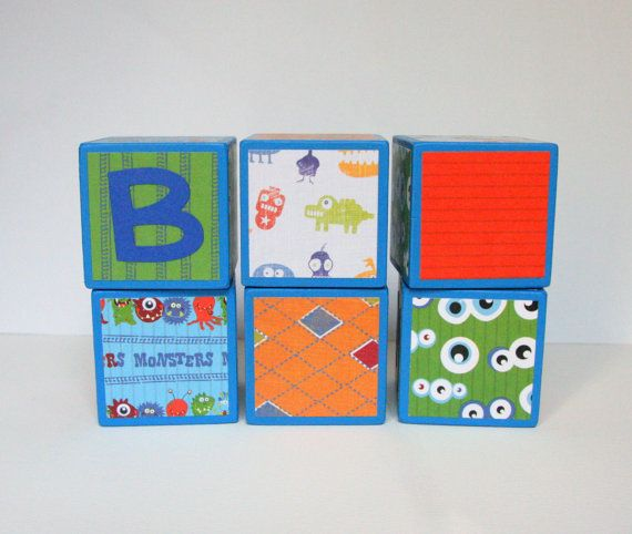 Personalized Wooden Baby Name Blocks - SET OF 6 - Boy - Monsters - Blue Orange Red Green