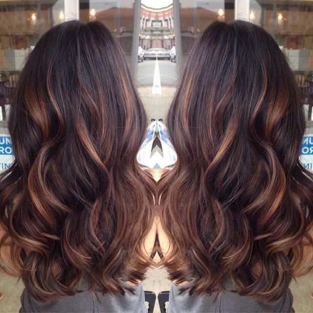 Started with golden caramel balayaged lights on her dark brown hair done by lemastyyles. YES