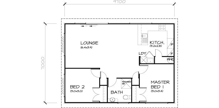 PLB70 2 Bedroom Transportable Homes House Plan