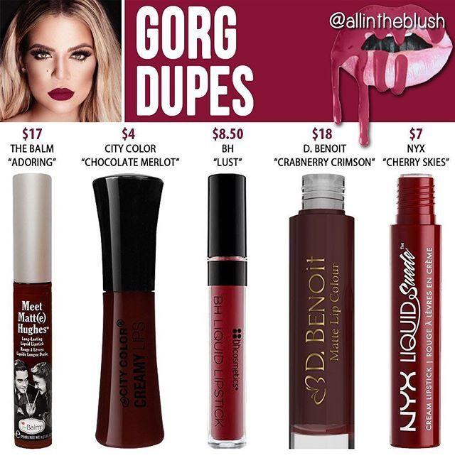 Kylie Jenner lip kit dupe Gorg