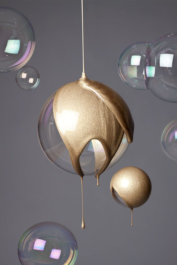 Katrin Schacke – Konzeption  Gestaltung.  (So I have this idea...pour...what, eopxy and colorant, or what?...over the ball, smash the ball, use the round drippy shell as a cover for a string of xmas lights...?)