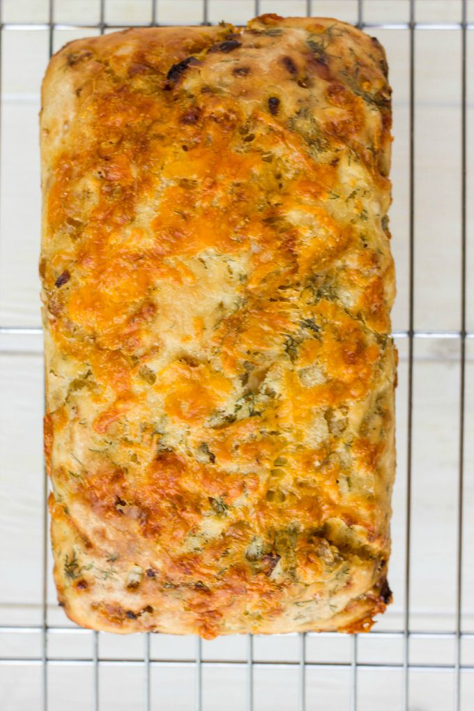 The easiest homemade cheese and dill beer bread! No bread machine required. Takes about 30 minutes to rise. The beer is your yeast so no worries of having any extra containers hanging around!