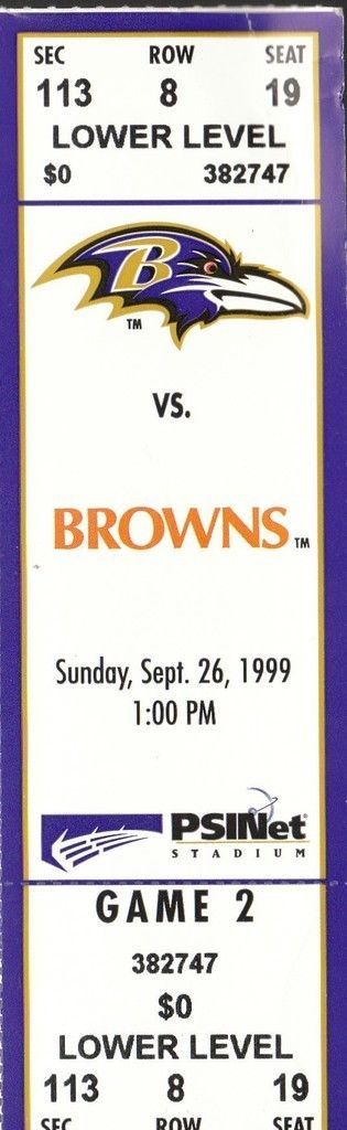 Ticket from the 1st meeting of the new Cleveland Browns and the old Cleveland Browns (Baltimore Ravens), 9/26/1999.
