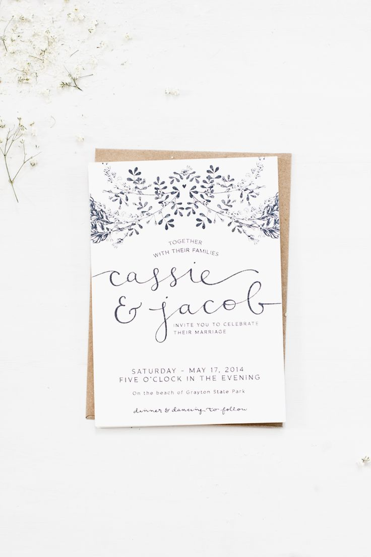 Inspiration | Simple Navy And White Wedding Invitations | Via: Veda House