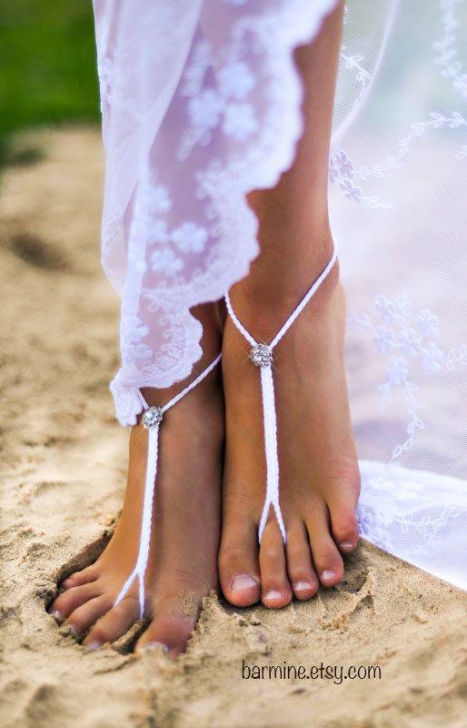 Rhinestone Beach wedding White Crochet Barefoot Sandals, Crystal Nude shoes, Beach wedding anklet, Bridal Foot jewelry, Footless sandles