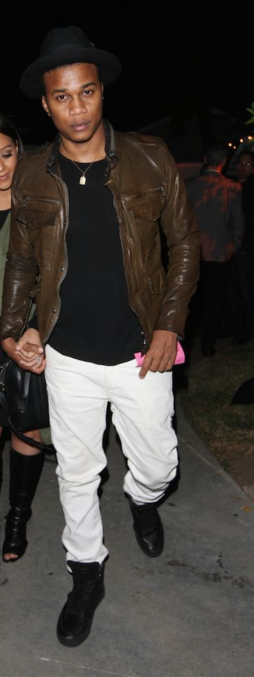 Cory Hardrict wears the black Adonis while attending private party in West Hollywood with wife, Tia Mowry.